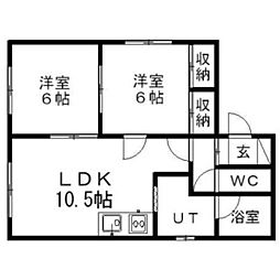 北海道江別市野幌町の賃貸アパートの間取り