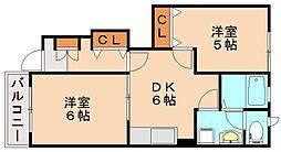 プレーヌ飯塚A[1階]の間取り