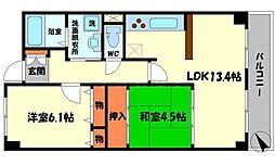 さくら館 3階2LDKの間取り