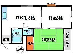 ホワイトアベニュー 3階2DKの間取り
