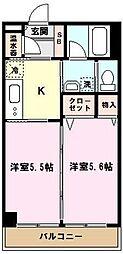 埼玉県川口市大字里の賃貸マンションの間取り