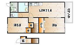 ブロ−マン杉A棟[2階]の間取り