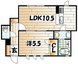 福岡県北九州市戸畑区千防2丁目の賃貸アパートの間取り