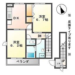 長野県上田市中丸子の賃貸アパートの間取り