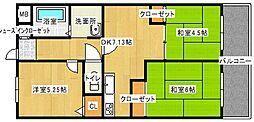 エスコート中崎[4階]の間取り