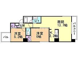 ibiza maruyama 3階2LDKの間取り