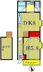 SUN LOOP 新松戸[2階]の間取り