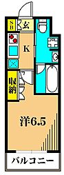 アジールコート東大井 4階1Kの間取り