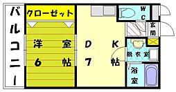 コーポラス東福間[3階]の間取り