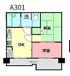 JR南武線 谷保駅 徒歩12分の賃貸マンション 3階2DKの間取り