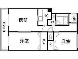 コスモB棟 4階2LDKの間取り