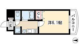 プレサンス覚王山D-StyleII 5階1Kの間取り