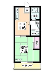タキシマハイツB棟[203号室]の間取り