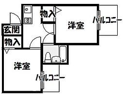 大阪府大阪市住吉区長居西1丁目の賃貸マンションの間取り