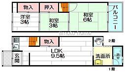 [テラスハウス] 大阪府豊中市島江町2丁目 の賃貸【/】の間取り