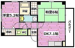 フォブール熊野[2階]の間取り
