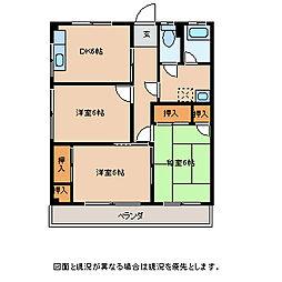 長野県諏訪市大字中洲下金子の賃貸アパートの間取り