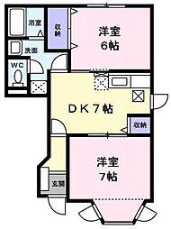 JR五日市線 武蔵五日市駅 徒歩15分の賃貸アパート 1階2DKの間取り