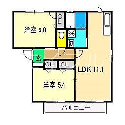 ラ・ベルターナV A棟[1階]の間取り