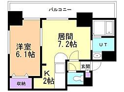 サンコート表参道 9階1DKの間取り