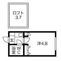 埼玉県さいたま市中央区上落合3の賃貸アパートの間取り