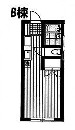 アパートミモザ館 B棟 オーナー鍵[1階]の間取り