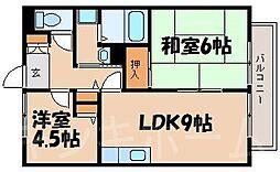 広島県広島市安芸区中野6丁目の賃貸アパートの間取り