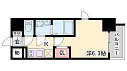 エスリードザ・ランドマーク神戸 4階1Kの間取り
