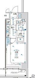 都営大江戸線 蔵前駅 徒歩5分の賃貸マンション 6階1Kの間取り