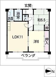 マンション久保田[4階]の間取り