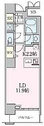 JR常磐線 南千住駅 徒歩5分の賃貸マンション 13階1Kの間取り