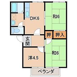 中村ハイツA・B[2階]の間取り