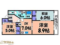 大阪府堺市堺区緑ヶ丘中町2丁の賃貸マンションの間取り