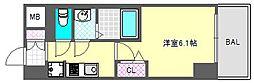 プレサンス難波クチュール 10階1Kの間取り