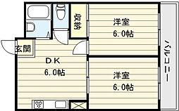 大阪府大阪市平野区加美北2丁目の賃貸マンションの間取り