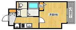エステムコート神戸山手ステーションデュオ 9階1Kの間取り