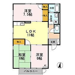 広島県東広島市八本松飯田8丁目の賃貸アパートの間取り