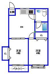水入ハイランドマンション[402号室]の間取り