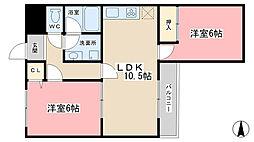 シンフォニー伏見東[505号室]の間取り