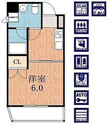 オズレジデンス天王寺ウエスト 5階1Kの間取り