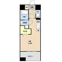 LIBTH(リブス)吉塚II 9階ワンルームの間取り