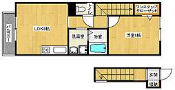 京都府京都市伏見区桃山町因幡の賃貸アパートの間取り