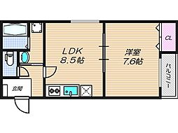 フジパレス新深江II番館[3階]の間取り