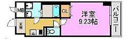 レーヴメゾン三国ケ丘 1階1Kの間取り