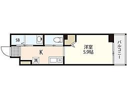 JR芸備線 矢賀駅 徒歩8分の賃貸マンション 4階1Kの間取り