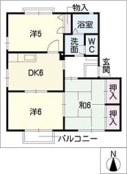 エスポワール三ツ井[1階]の間取り