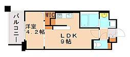 アーヴェンス吉塚 3階1LDKの間取り