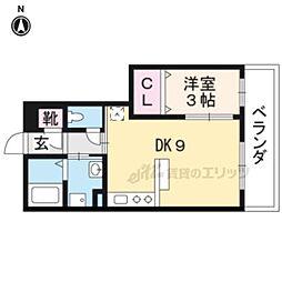 ルミエール京都 2階1DKの間取り