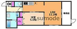 SunbloomNeo(サンブルームネオ) 1階1LDKの間取り