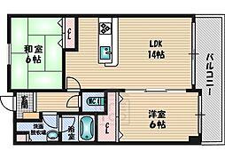 シルフィード緑地 2階2LDKの間取り